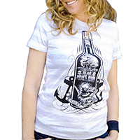 Lucky Mule Brand- Dead Man's Rum on a white & grey striped girls fitted shirt (Sale price!)