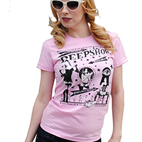 Lucky Mule Brand- Peepshow on a pink girls fitted shirt (Sale price!)
