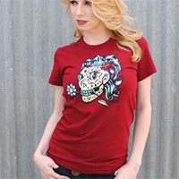 Lucky Mule Brand- Girly Day Of The Dead Skull on a maroon girls fitted shirt (Sale price!)