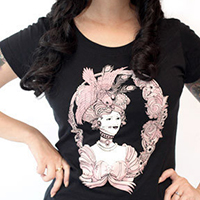 Lucky Mule Brand- Victorian Lady on a black girls fitted shirt (Sale price!)