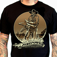 Lucky Mule Brand- Fire Power on a black shirt (Sale price!)