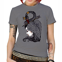 Lucky Mule Brand- Black Swan on a charcoal girls fitted shirt (Sale price!)