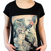 Lucky Mule Brand- Dodo's Widow on a black girls fitted shirt (Sale price!)