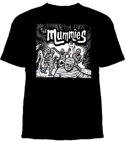 Mummies- Band Cartoon on a black youth sized shirt (Sale price!)