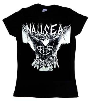 Nausea- Face on a black girls fitted shirt