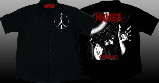 Nausea- Crucifix on front, Cybergod on back of a black short sleeve work shirt