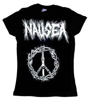 Nausea- Crucifixion on a black girls fitted shirt
