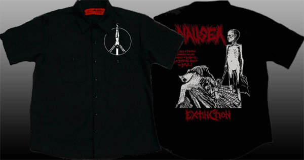 Nausea- Crucifix on front, Extinction on back of a black short sleeve work shirt (Sale price!)