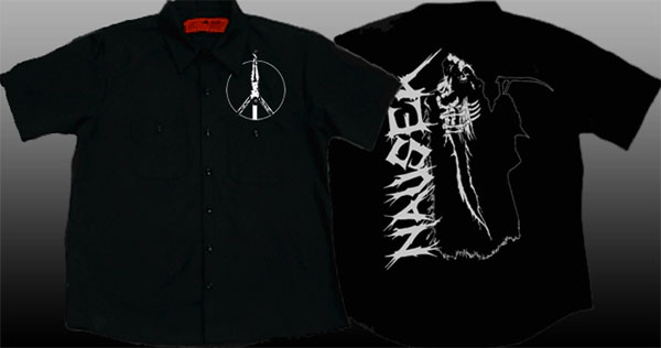 Nausea- Crucifix on front, Grim Reaper on back of a black short sleeve work shirt (Sale price!)
