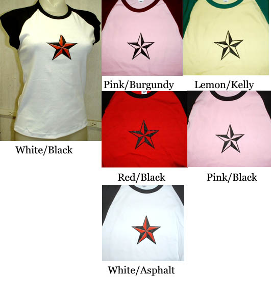Nautical Star on a capped sleeve baby doll (Various color choices!) (one size) (Sale price!)