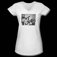 Munsters- Play It Again on a White Girls V-Neck Shirt - SALE sz L & 2X only
