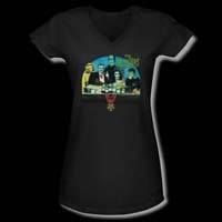 Munsters- 50th Anniversary Potion on a Black Girls V-Neck Shirt - SALE sz M only