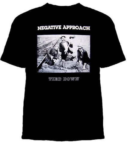 Negative Approach- Tied Down (White Print) on a black YOUTH sized shirt