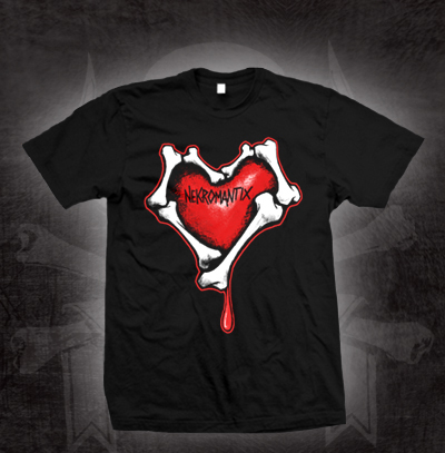 Nekromantix- Heart And Bones Logo on a black YOUTH sized shirt (Sale price!)