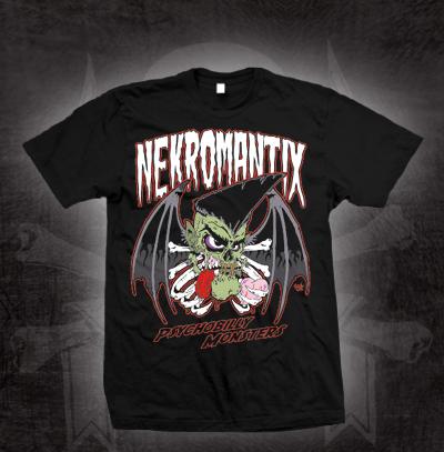 Nekromantix- Psychobilly Monsters on a black shirt (Sale price!)