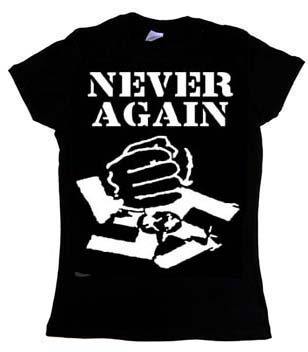 Anti Nazi- Never Again on a black girls fitted shirt