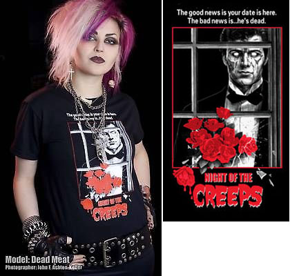 Night Of The Creeps- The Good News Is Your Date Is Here. The Bad News Is...He's Dead on a black YOUTH sized shirt