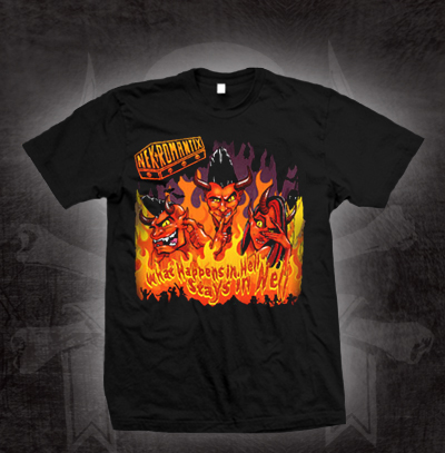 Nekromantix- What Happens In Hell Stays In Hell on a black shirt (Sale price!)