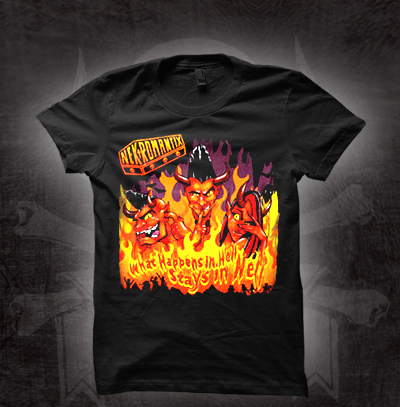 Nekromantix- What Happens In Hell Stays In Hell on a black fitted girls shirt (Sale price!)