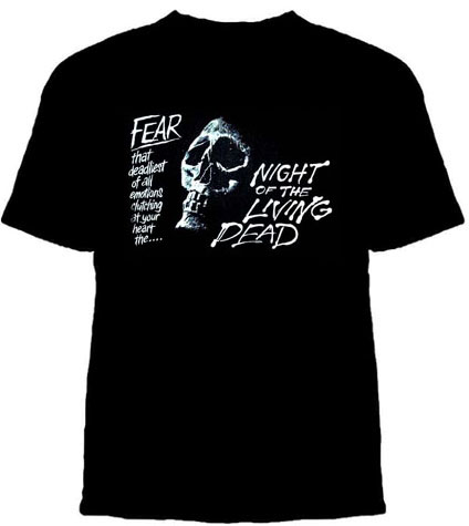 Night Of The Living Dead- Fear on a black YOUTH sized shirt