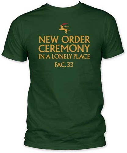 New Order- In A Lonely Place on a green ringspun cotton shirt