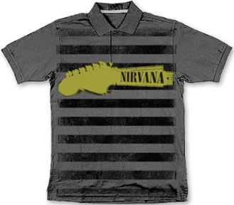 Nirvana- Guitar Neck & Stripes on a charcoal polo shirt