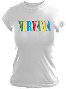 Nirvana- Logo on a white fitted girls shirt (Sale price!)