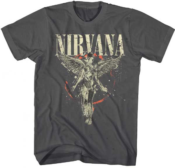 Nirvana- In Utero on an asphalt ringspun cotton shirt
