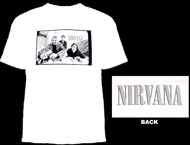 Nirvana- Band Pic on front, Logo on back on a white shirt