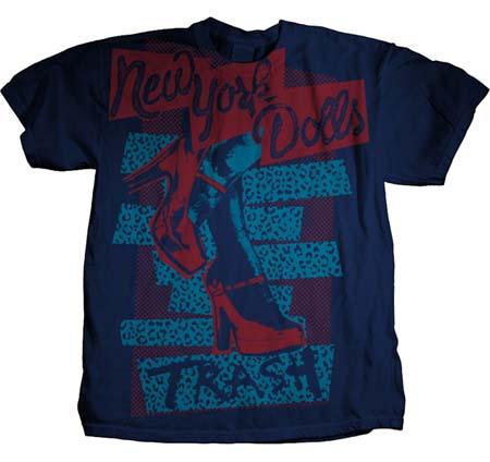 New York Dolls- Trash on a navy ringspun cotton shirt