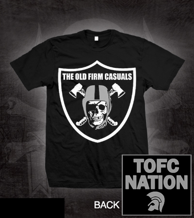 Old Firm Casuals- Raider Skull on front, TOFC Nation on back on a black shirt (Sale price!)