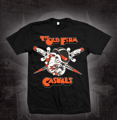 Old Firm Casuals- Clockwork Bulldog on a black shirt