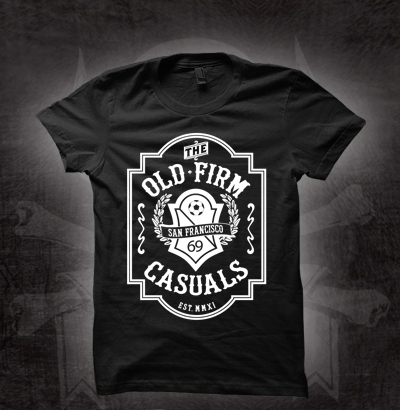 Old Firm Casuals- Crest on a black girls fitted shirt (Sale price!)