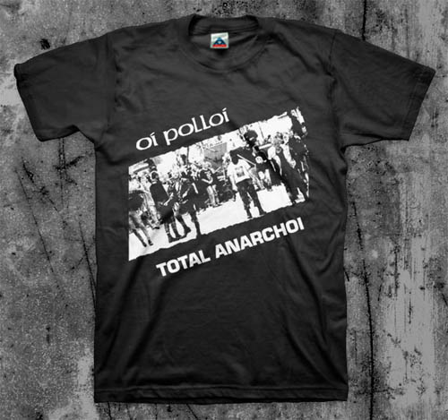 Oi Polloi- Total Anarchoi on a black shirt