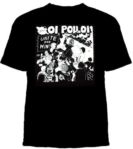 Oi Polloi- Unite And Win on a black youth size shirt (Sale price!)