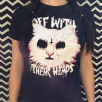 Off With Their Heads- Satan Cat on a black girls fitted shirt