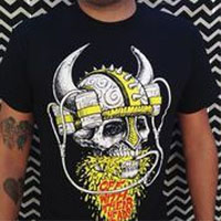 Off With Their Heads- Viking Beer Helmet on a black shirt
