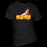 Bettie Page- Devil Bettie on a black shirt (Sale price!)