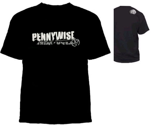 Pennywise- Roughwise on front, Small Symbol on back on a black shirt (Sale price!)