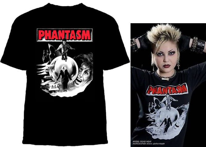 Phantasm- Collage (Black & White With Red Logo) on a black YOUTH sized shirt