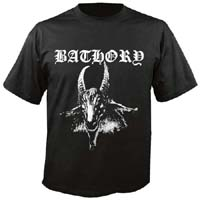 Bathory- Goat on front, Pentagram on back on a black shirt