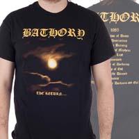 Bathory- The Return on front, Logo on back on a black shirt