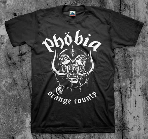 Phobia- Orange County on a black YOUTH sized shirt