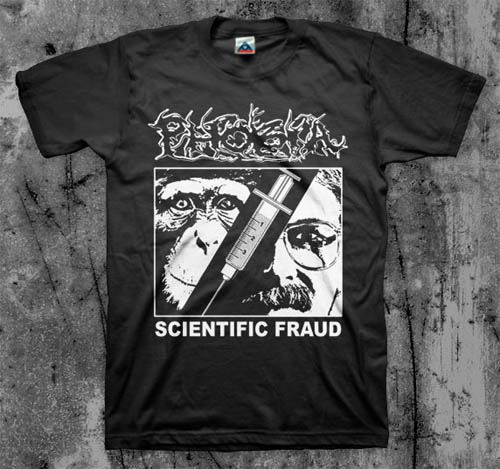 Phobia- Scientific Fraud on a black shirt