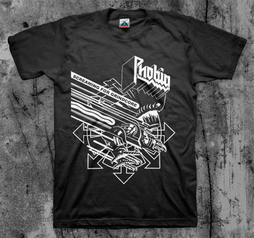 Phobia- Screaming For Grindcore on a black shirt