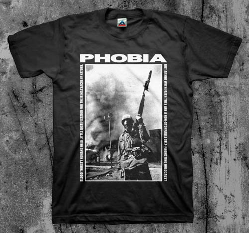Phobia- Blood Thirsty Humans (Soldier) on a black shirt