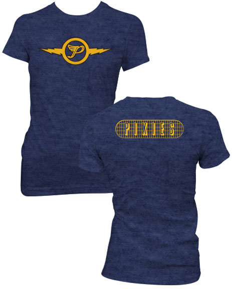 Pixies- Lightning on front, Logo on back on a heather navy girls fitted shirt