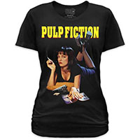 Pulp Fiction- Mia on a black girls fitted shirt by Goodie Two Sleeves