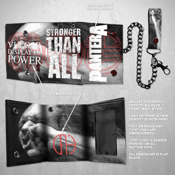 Pantera- Stronger Than All on a black leather chain wallet