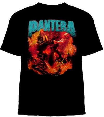 Pantera- Vintage Flames on a black shirt